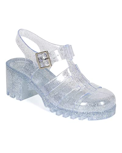 7f45651526e0 Nature Breeze CK93 Women Glitter Jelly Round Toe Strappy Caged Gladiator  Chunky Heel Sandal - Clear