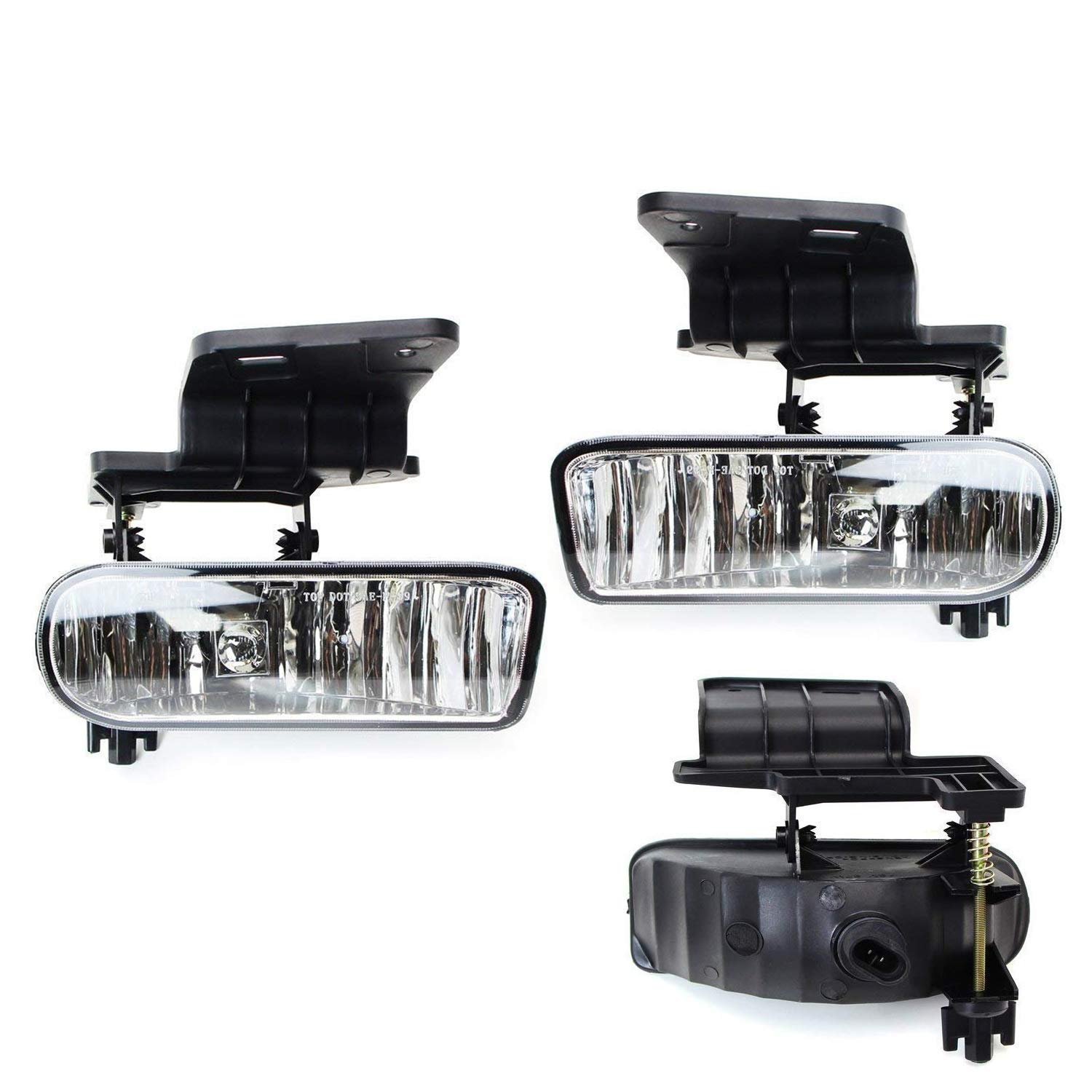 2000-2006 Suburban Tahoe iJDMTOY 89-343-Clear Clear Lens Fog Lights Foglamp Kit with 880 Halogen Bulbs w//Mounting Brackets For 1999-2002 Chevrolet Silverado 1500 2500 2000-2001 3500