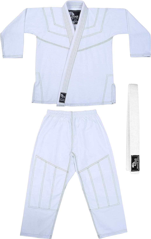 Kids BJJ Gi for Kids IBJJF Youth Grappling Childrens Brazilian Jiu Jitsu Gi Kimono Lightweight Uniform with Free Belt