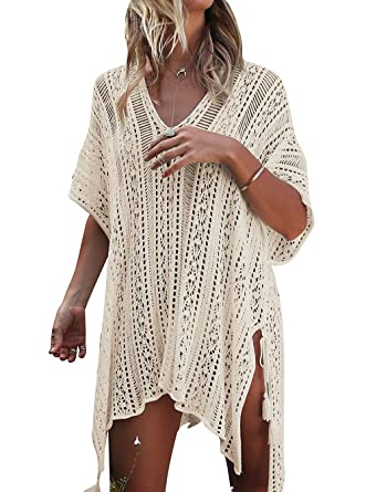 HARHAY Women s Summer Swimsuit Bikini Beach Swimwear Cover up Beige ... 6debc6228