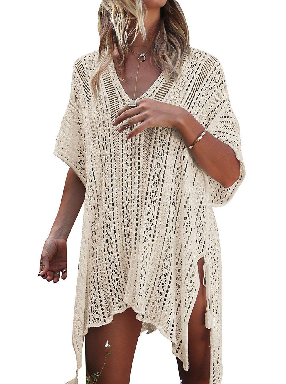 HARHAY Women's Summer Swimsuit Bikini Beach Swimwear Cover up Beige