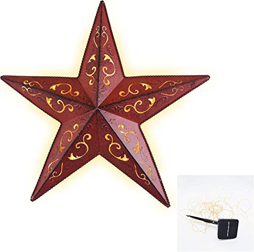 SOLAR LIGHTED RED LACY METAL STAR 18″