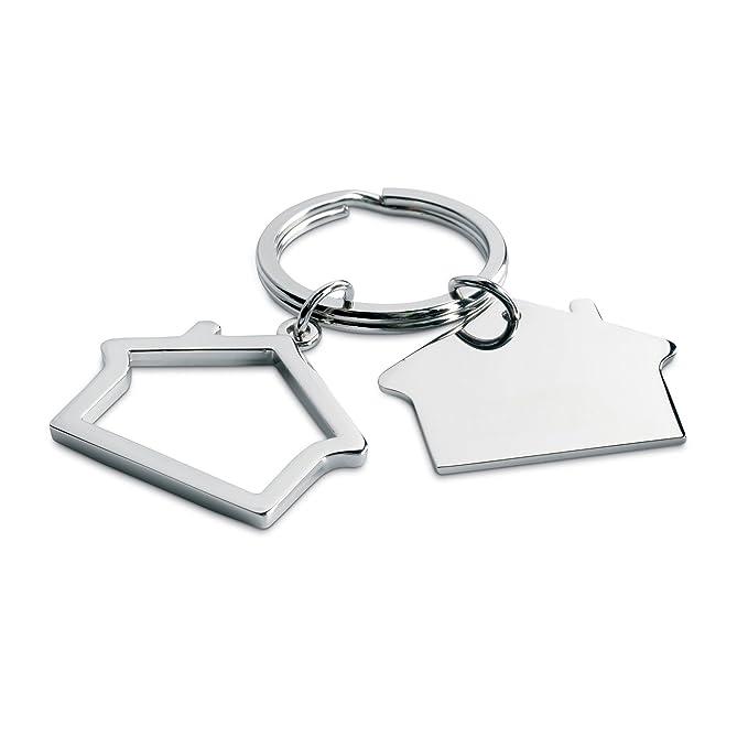 Metal Forma llavero Casa, shiny silver, 6.5x4.4x1cm