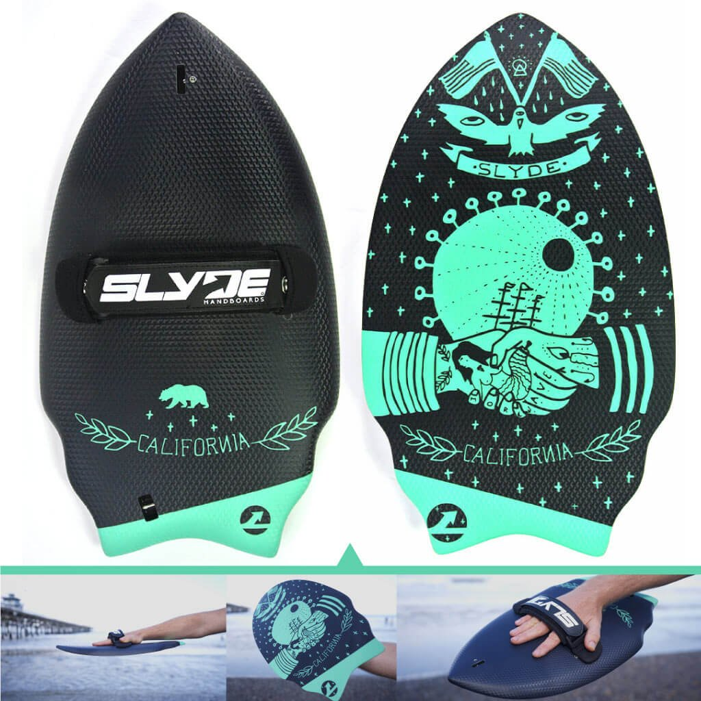 SLYDE Wedge Body Surfing handboard//Handplane with Embedded Camera Attachment Leash Plug and ADJUSTABLE handstrap