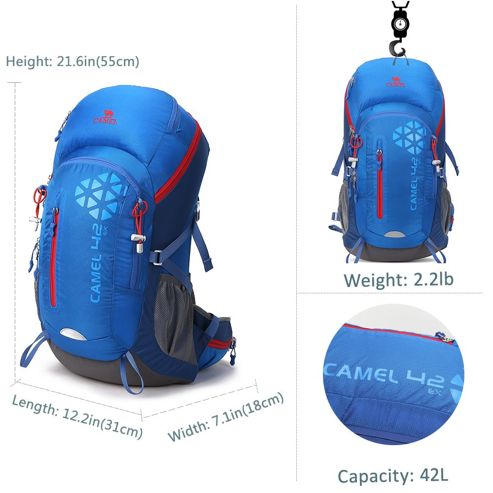 25baf63c1544 Amazon.com   Camel 42L Internal Frame Backpack Backpacks for Backpacking  Camping Hiking Travel Outdoor Large Lightweight Daypack with Rain Cover  Blue ...