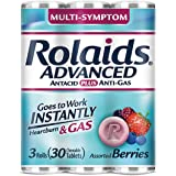 Rolaids Advanced Strength Antacid Plus Anti Gas Tablets Rolls, 10 Count (Pack of 3)