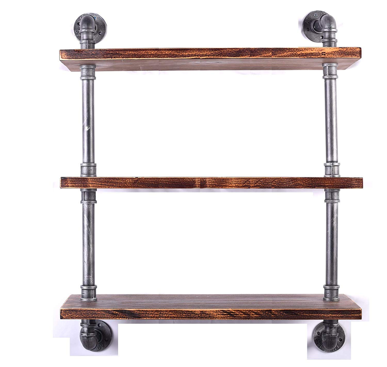 "Diwhy Industrial Pipe Shelving Bookshelf Rustic Modern Wood Ladder Storage Shelf 3 Tiers Retro Wall Mount Pipe Dia 32mm Design DIY Shelving (Silver, L 36"") - 【Retro Style】:Rustic industrial pipe shelf in black finish.Iron pipes and reclaimed real wood composition in vintage style.Storage and decorations.It can also be used outdoors.Extensively anti-rust treatment. - Electroplated finish. 【Size】:Made from quality metal pipe and pine wood. Overall size: length 36in x depth 10in x height 39in.Board size: length 36in x depth 10in x thickness 1.18in.Water pipe diameter: 1.26in, Overall Product Weight:33 lb . 【Multi-functional】:The floating shelves are versatile, such as bathroom accessories, towel holder, bookcase, spice racks. - wall-shelves, living-room-furniture, living-room - 71XIpzkoLdL -"