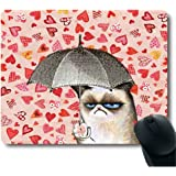 Cat Holding Umbrella in Pink Heart Rain BackGround Mouse Pad