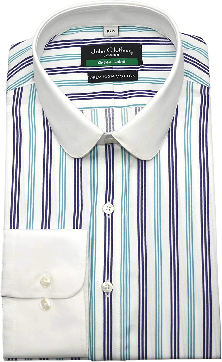Peaky Blinders Round collar Yellow stripe shirt Gents Penny collar Club Vintage