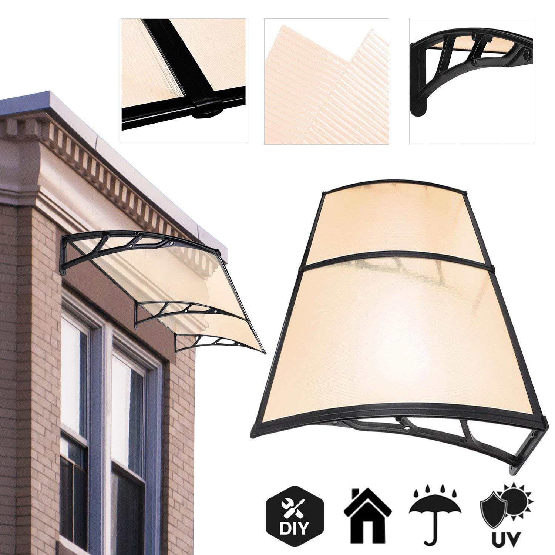 6.5 ft DIY Overhead Clear Outdoor Awning Patio Cover Door Window Polycarbonate Modern Design UV Rain Sunshine Koval Inc