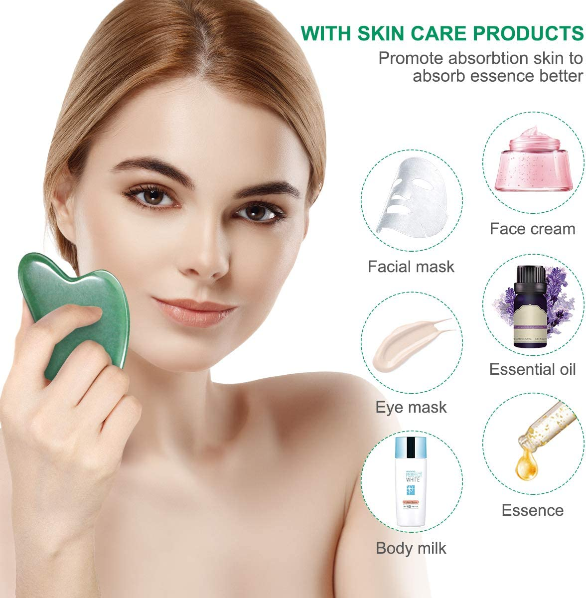 Gua Sha Tool, Natural Gua Sha Scraping Jade Stone for Facial Skincare Scraping Massage Tools