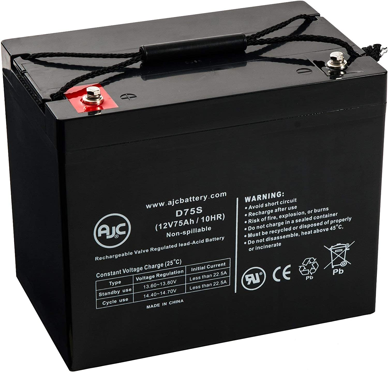 C/&D Dynasty UPS12-300MR 12V 75Ah UPS Battery This is an AJC Brand Replacement