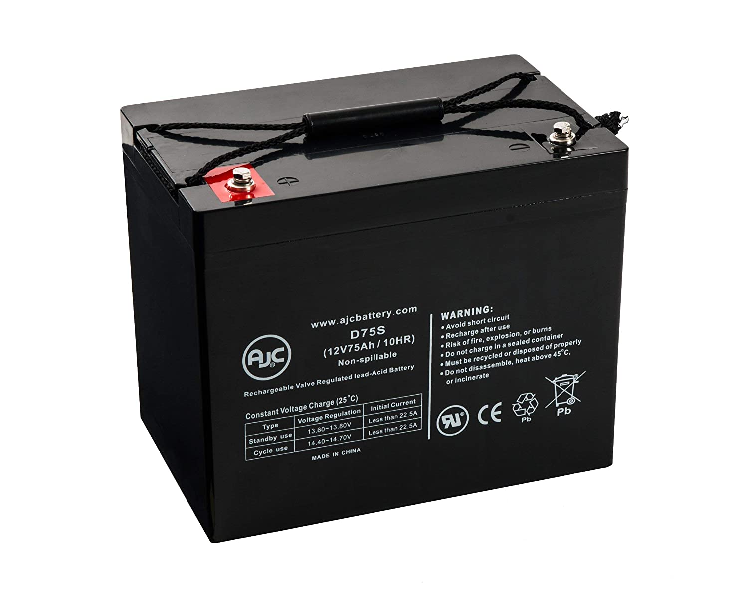 Quantum Rehab Q6 Edge Z 12V 75Ah Wheelchair and Mobility Battery - This is an AJC Brand Replacement AJC Battery