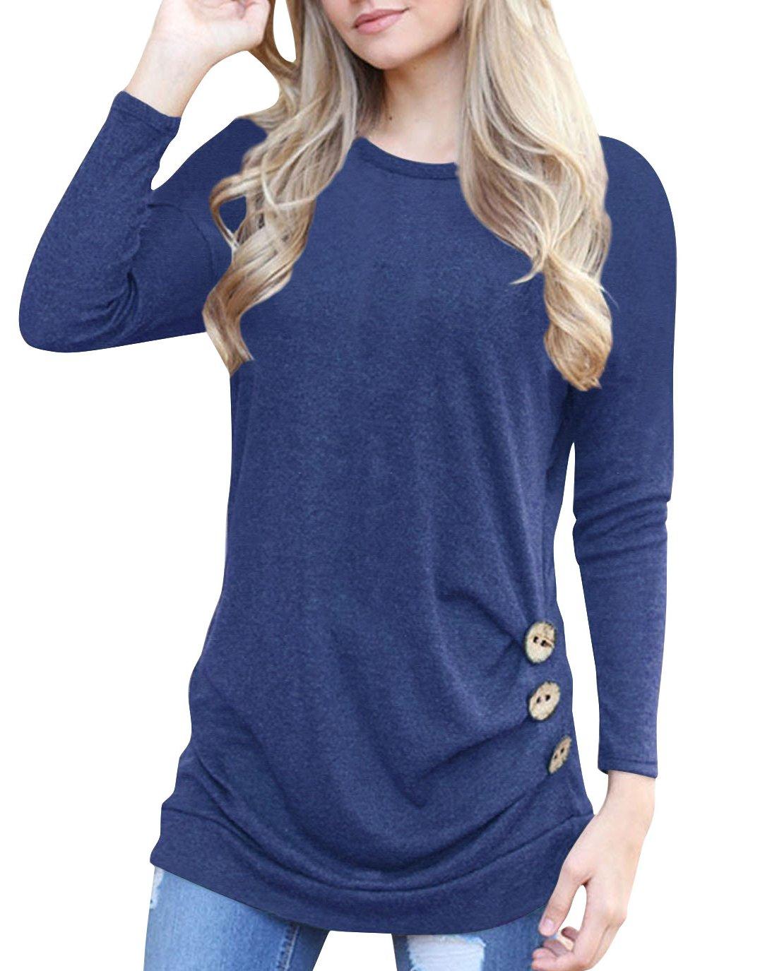 Doris Kids Women's Casual Tunic Top Sweatshirt Long Sleeve Blouse T-Shirt Button Decor Blue L