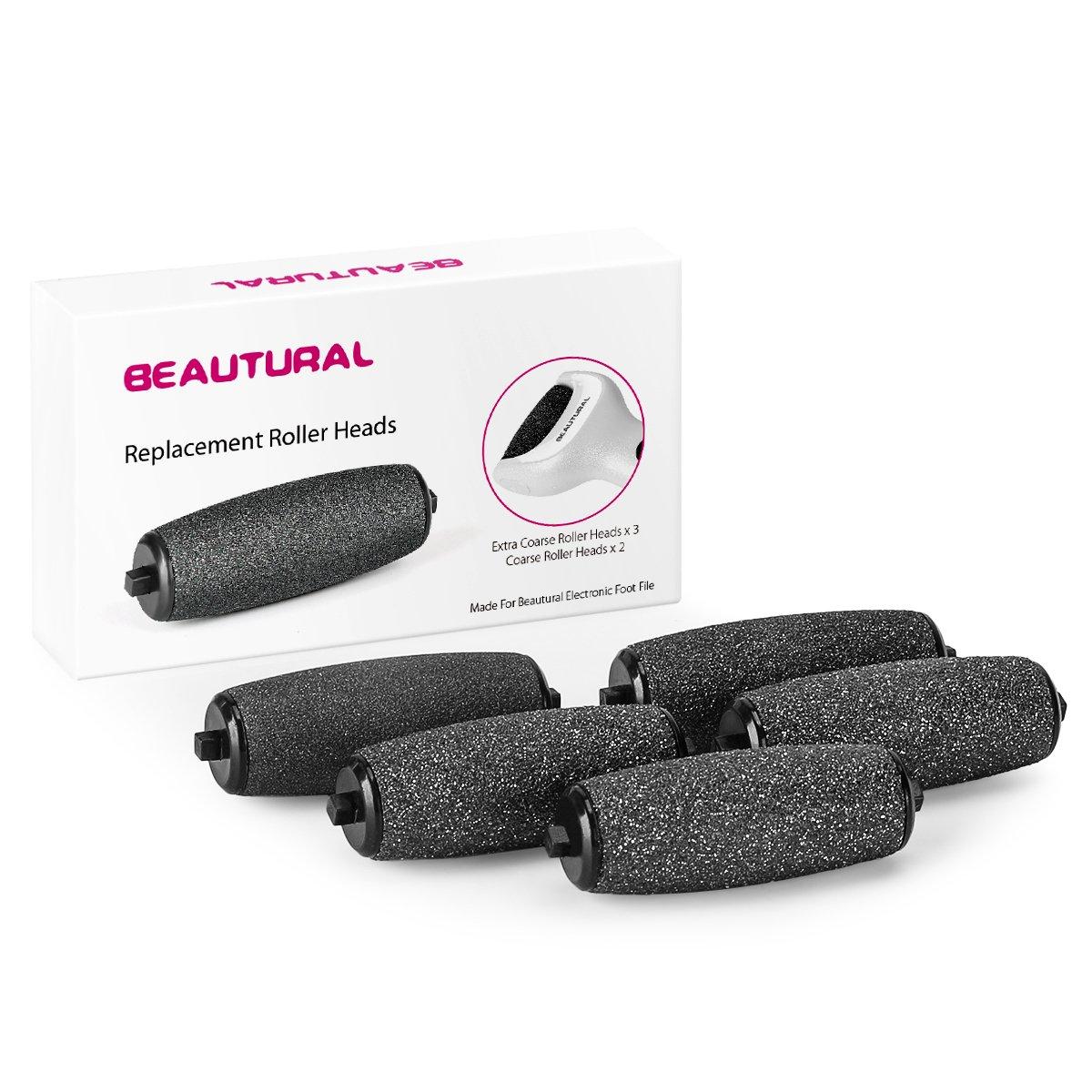 3 rodillos Beautural extra gruesos y 2 rodillos regulares de recambio para el Beautural quitacallos en pies secos y húmedos