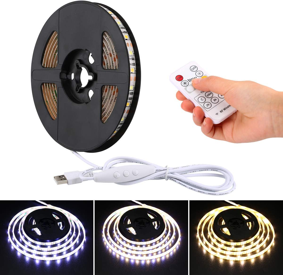YDZM LED Strip Lights USB Powered Warm White Cool White Led Light Strip with RF Remote Control6.56ft 2M IP65 Waterproof Led Tape Light for Homes, Kitchen Cabinet Lights