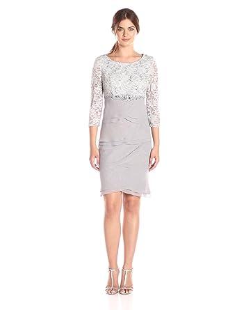 6ee48d924ac7 Jessica Howard Women's Beaded Empire Waist Dress, Silver, 16 at ...