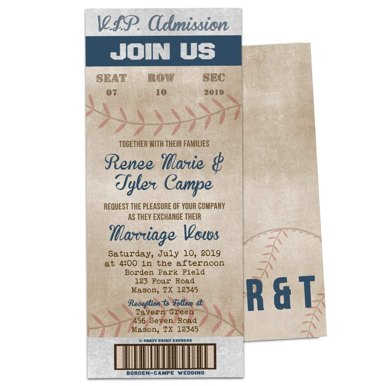 Amazon Com Vintage Baseball Wedding Invitations Ticket Ball Park