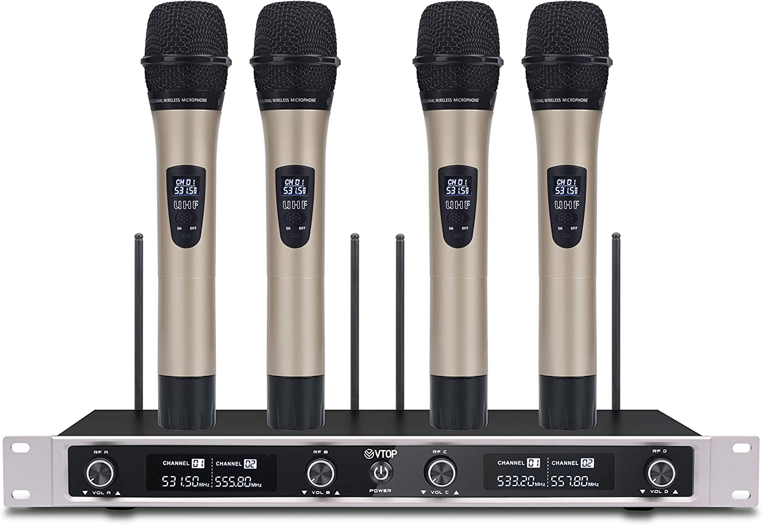 VTOP UHF-400 UHF 4 Channel Wireless Microphone System with Four Metal Handheld Microphone for Party/Wedding/Church/Conference/Speech