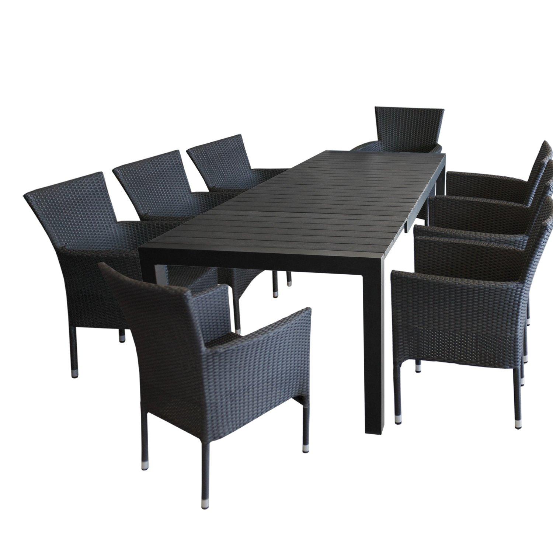 9tlg gartengarnitur gartentisch polywood ausziehbar 224 284 344x100cm schwarz bis 12 personen. Black Bedroom Furniture Sets. Home Design Ideas