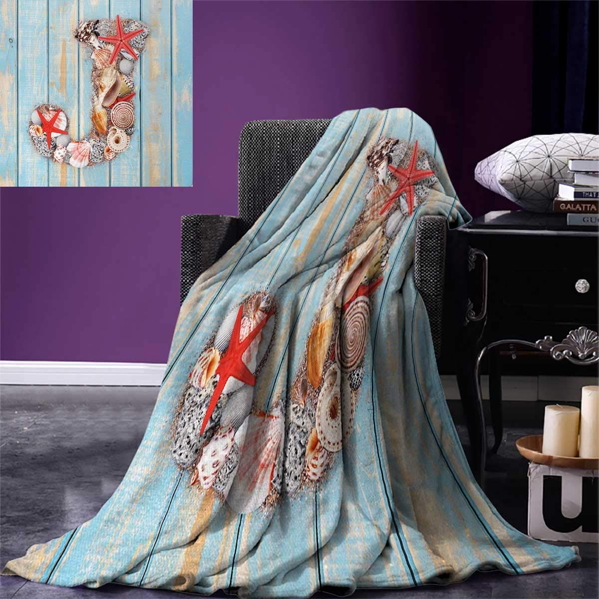 Anniutwo Letter J Warm Microfiber All Season Blanket Summer Holiday on Tropical Beach Theme J Rustic Old Wood Planks Print Image Blanket 62''x60'' Pale Blue Ivory Dark Coral