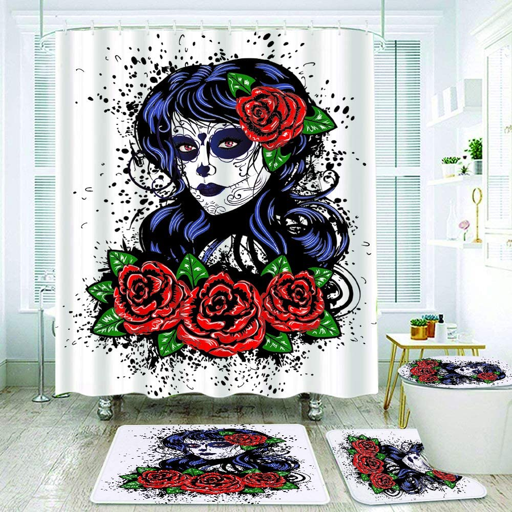 COVASA 4Pcs Shower Curtain Sets Non Slip Rugs,Toilet Lid Cover and Bath Mat,Vintage Sugar Skull Girl Roses for Day of The Dead Dia de Los Muertos,Bathroom Decor Bath Curtains 12 Hooks Included