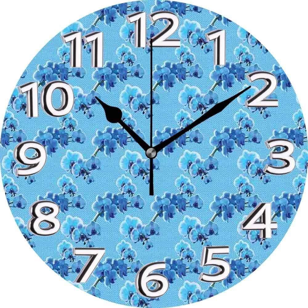 AZHOULIULIU Co.,ltd Orquídeas Patrón de Renacimiento Retro con Flores Lunares Blancos sobre Azul Azul pálido Verde Oscuro y Blanco Reloj silencioso