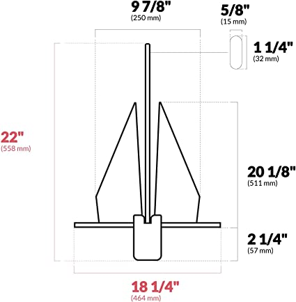8 LB FO-3940-1 Traditional Danforth Style Fluke Hot Dipped Galvanized Anchor