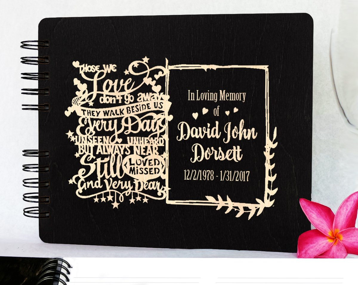 Funeral Guest Book Personalized Wooden Memorial Guestbook 8.5x7 Black Wood Celebration of Life Guest Book Remembrance in Loving Memory - Made in USA