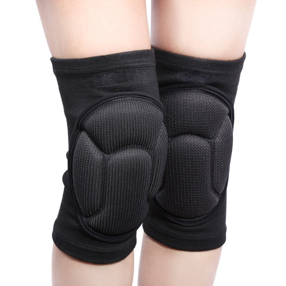 Thickeningサッカーバレーボール極端なスポーツ膝パッド膝ブレースサポート保護サイクリング膝プロテクター付き B01DZAS2EM ブラック