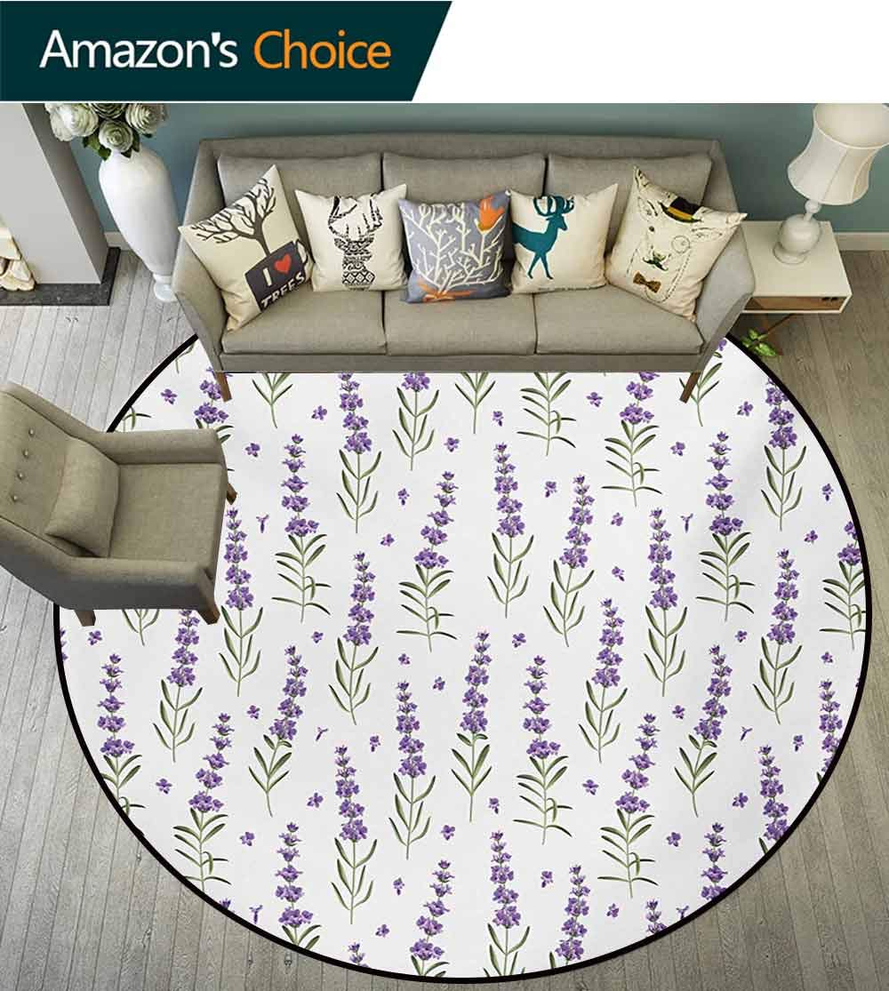 RUGSMAT Lavender Non-Slip Area Rug Pad Round,Nature Pattern with Delicate Lavender Twigs Fresh Organic Plants Herb Protect Floors While Securing Rug Making Vacuuming,Diameter-35 Inch