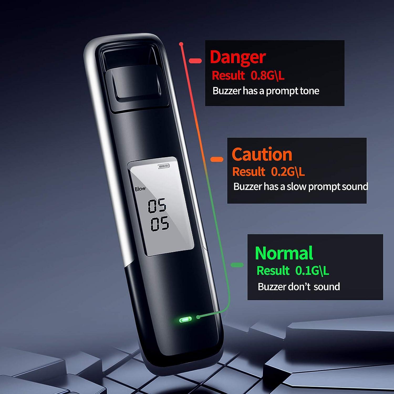 Promilletester mit Hohe Genauigkeit Halbleitersensor iPatio Staubdichtes Design Alkoholtester,USB Wiederaufladbarer Tragbar Atemalkoholmessger/ät