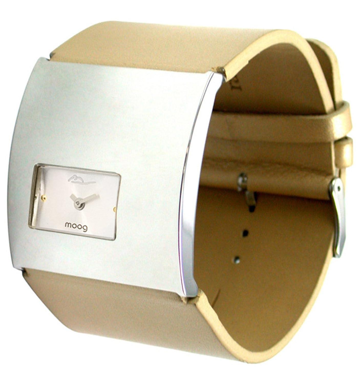 Moog Paris - Geometric - Damen Armbanduhr Silber aus Edelstahl - Armband Beige aus Kalbsleder - in Frankreich hergestellt -
