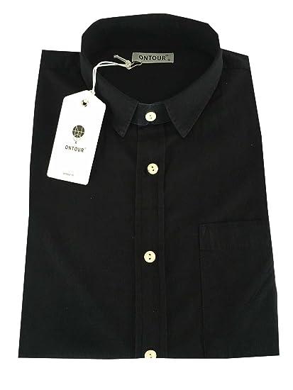 100 uomo camicia cotone ONTOUR vestibilità taschino con nera slim d5tZnw