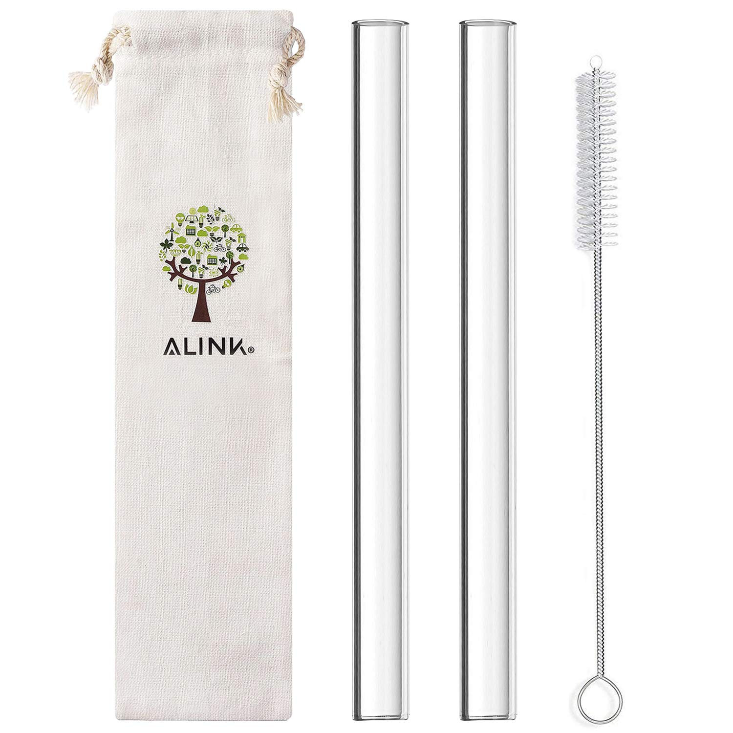 ALINK Glass Boba Straw, Reusable Wide Clear Smoothie Straws, 14mm X 9 in Set of 2 with Cleaning Brush