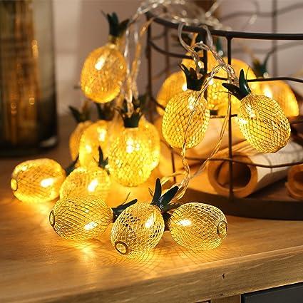 Pineapple String Lights, E Lip 20 LED 9.8FT Battery Operated Fairy String  Lights