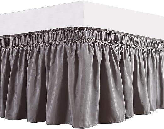 Dark Grey Wrap Around Bed Skirts Elastic Dust Ruffles Luxury Fabric Easy Fits