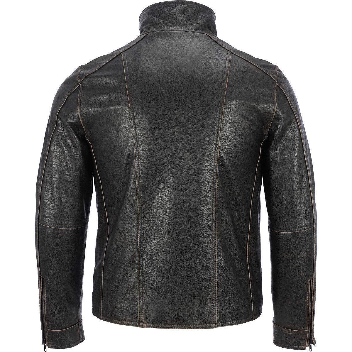 giacca con rivetto di colore nero Superior Leather Garments in vera pelle di mucca da uomo