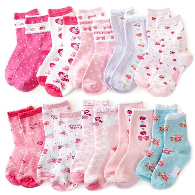 靴下 キッズ 女の子 ソックス 子供 ハートに リボンにさくらんぼ かわいいが満載のラブリー系ソックス クルー丈10足セット赤 白 ピンク  15,19cm/20,24cm対応サイズ