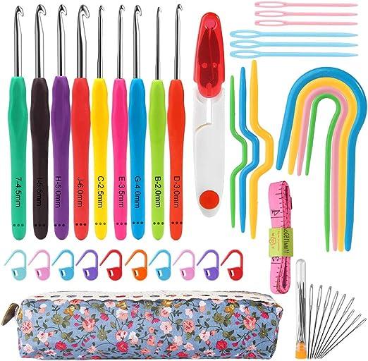 Mukum - Juego de 44 agujas de ganchillo con estuche, mango ergonómico, agujas de ganchillo para manos artríticas: Amazon.es: Hogar