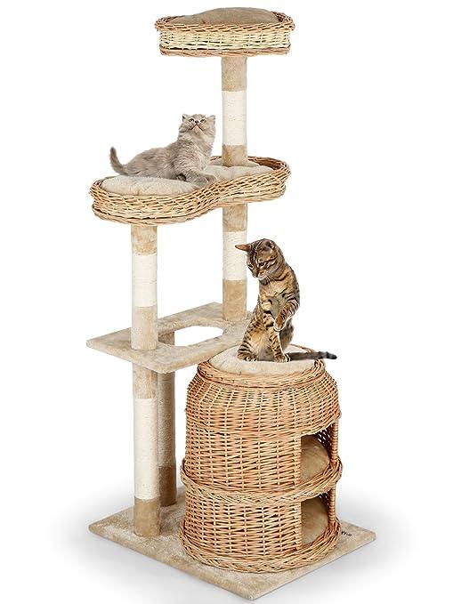 Leopet - Rascador árbol de gatos - altura 135 cm - cueva de 2 pisos y