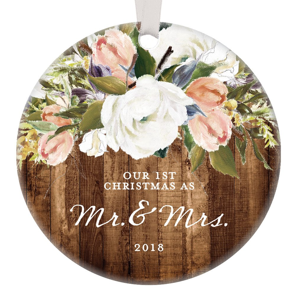 Rustic Newlyweds Christmas Ornament, 2018 First Christmas as Mr & Mrs Gift for Couple Wedding Day Beautiful Modern Farmhouse Floral Present 3'' Flat Circle Porcelain with White Ribbon & Free Gift Box