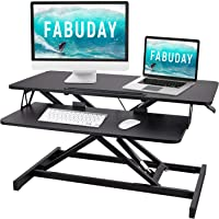 Height Adjustable 32'' Standing Desk Converter, Sit Stand Desk Risers for Standing or Sitting, Stand up Desk with…