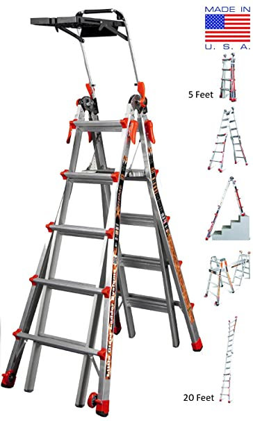 Little Giant Xtreme Aluminium Step Ladder M22 5ft To 20ft Multiuse 24 In 1 Made In Usa Airdeck Tool Tray Tip N Glide Wheels Rock Locks Amazon In Home Improvement