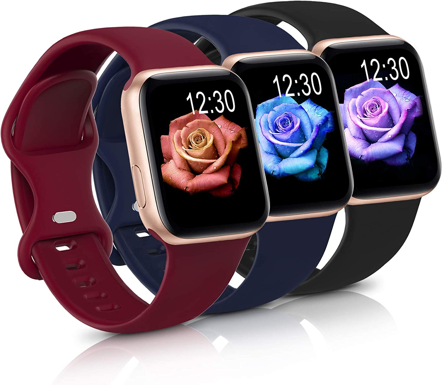 Sport Band Compatible with Apple Watch iWatch Bands 38mm 40mm,Soft Silicone Strap Wristbands for Apple Watch Series 3 6 5 4 2 1 SE Women Men Pack 3,Black/MidnightBlue/Burgundy,38/40mm,M/L