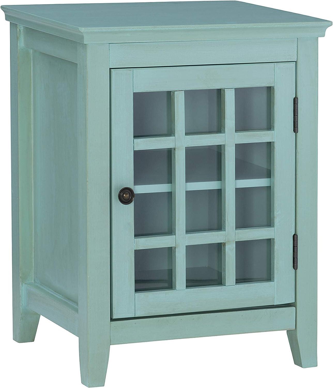 Linon Amzn0282 Reed Distressed Turquoise Single Door Cabinet,