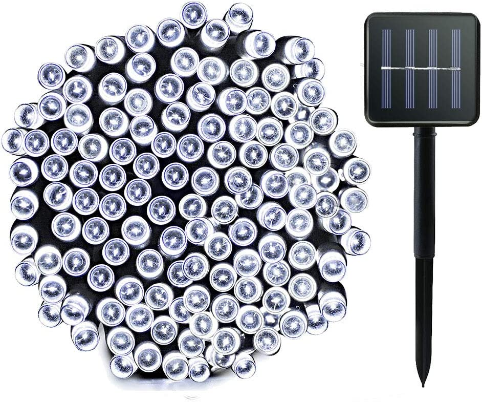 Lalapao Solar String Lights 72ft 200LED 8 Modes Outdoor Lighting Solar Powered Christmas Lights Waterproof Starry Fairy Lights for Patio Lawn Garden Home Wedding Xmas Party Tree Decor (White)