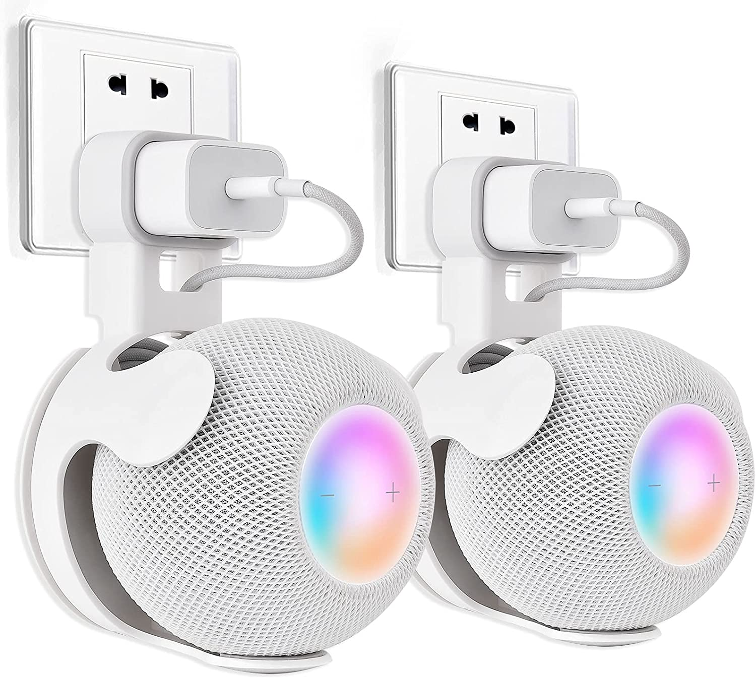 V-MORO HomePod Mini Wall Mount Holder, Outlet Mount Stand Hidden Cable Management for Apple HomePod Mini Smart Speaker Shelf Without Messy Wires Excellent Space Saving Punch-Free 2-Pack White