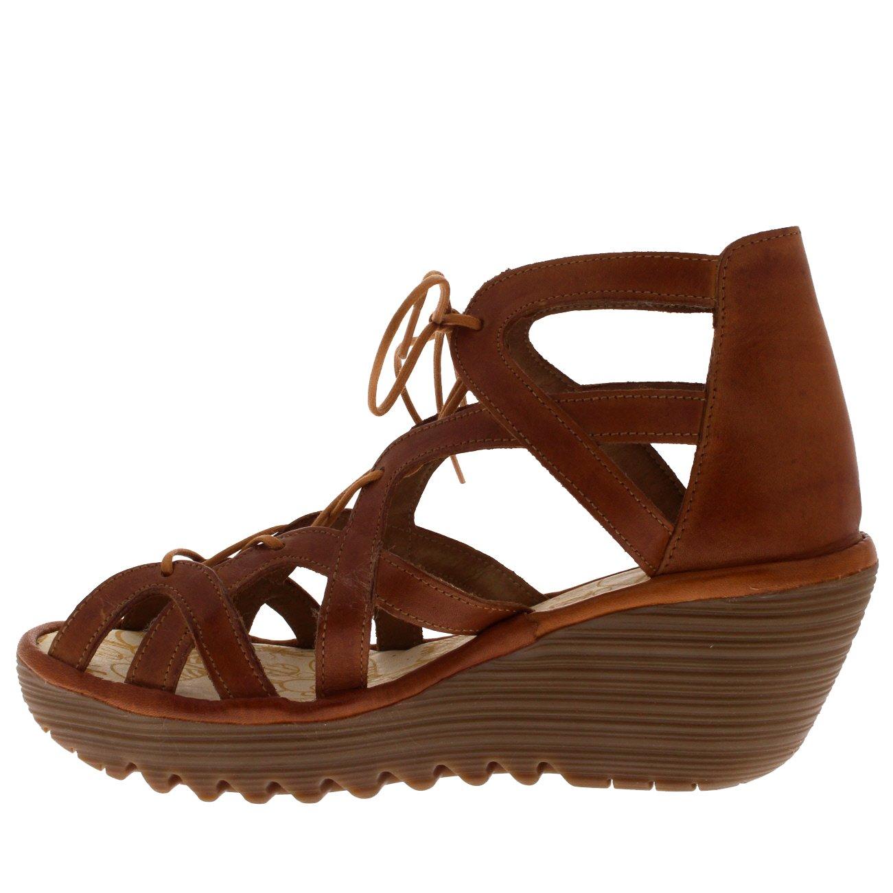 FLY London Womens YELI719FLY Wedge Leather Sandals B07B66XL8G UK7 - EU40 - US9 - AU8 Tan