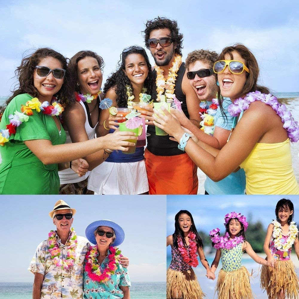 BangShou Bunten Hawaiikette Halskette Girlande Blumenkette Stoffbl/üten Hawaii Blumen Set f/ür Kleid Party Favors Strand und Themenbezogenen Geburtstage 12STK